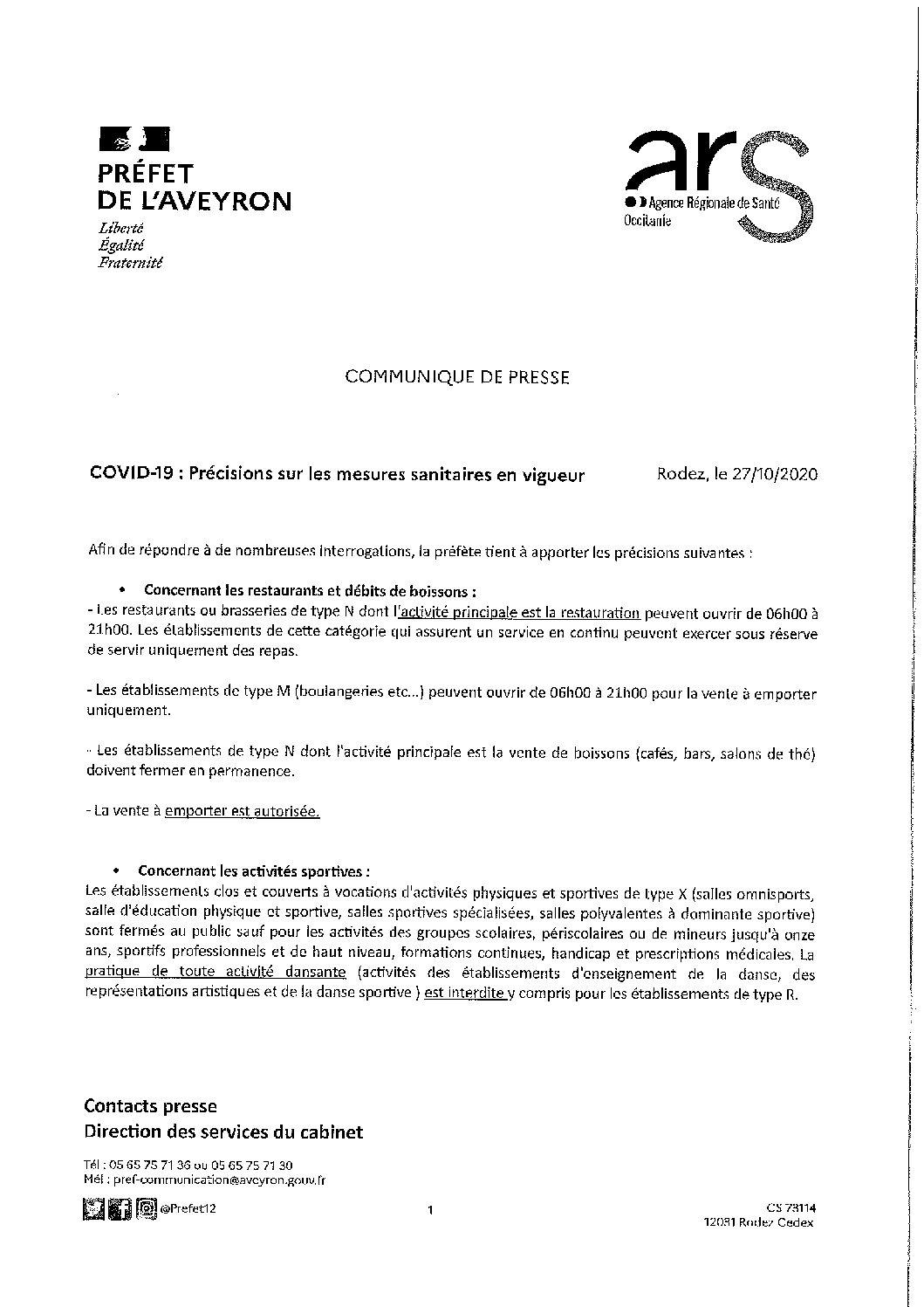 Précisions sur les mesures sanitaires – Aveyron